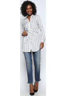 Camisa Alongada Com Amarração- Off White & Azul Escurotvz