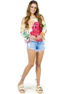 Blusa Bela Floral Fille Feminina - Feminino-Amarelo