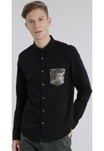 Camisa Masculina Com Bolso Estampado Camuflado Manga Longa Preta
