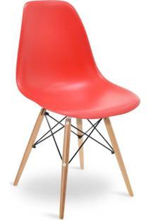 Cadeira Eames Dkr Wood Vermelho - Vermelho - Dafiti
