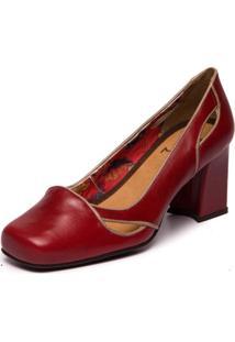 Sapato Mzq Feminino Retrô Sophia 5968 - Amora / Taupe