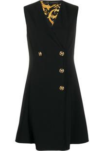 Versace Vestido Com Abotoamento Duplo - Preto