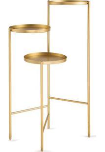 Mesa De Apoio Metalizada- Dourada- Martmart