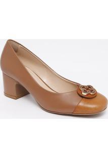 Sapato Tradicional Em Couro Com Recorte - Marrom Claro