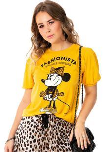 Blusa Com Decoração De Pedras Amarelo Minnie