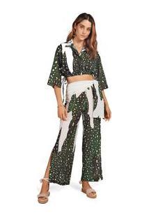Calça Morena Rosa Pantalona Cós Alto Detalhe Sobreposto Verde