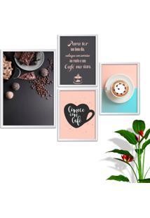Kit Conjunto 4 Quadro Oppen House S Frases Comece Com Café Lojas Cafeteria Xícaras Grãos Moldura Branca Decorativo Interiores Sem Vidro - Kanui