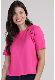 Blusa Feminina Com Recortes E Botão Manga Curta Decote Redondo Pink