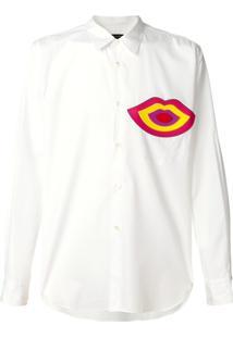 Comme Des Garçons Homme Plus Camisa Com Aplicação De Lábios - Branco