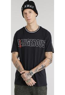 """Camiseta Masculina """"Minds Dangerous"""" Manga Curta Gola Careca Preta"""