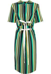 Proenza Schouler Vestido De Tricô Listrado - Verde