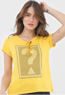 Camiseta Guess Lettering Amarela - Amarelo - Feminino - Algodã£O - Dafiti