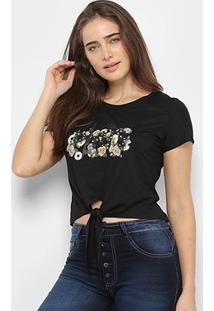 Camiseta Sofia Fashion Cropped Paris Nó Feminina - Feminino-Preto