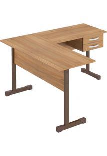 Mesa Em L Para Escritório 2 Gavetas 143Cmx136Cm Pop Plata Móveis Amendoa
