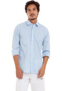 Camisa Joss De Tricoline Com Stretch Azul Clara