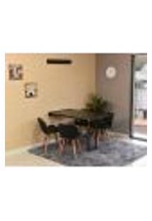 Conjunto De Mesa Dobrável Retrátil 120 X 75 Preta + 4 Cadeiras Slim - Preta