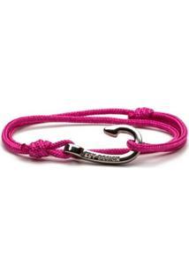 Pulseira Key Design Hook Silver Pink Rope Feminina - Feminino