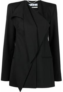 Off-White Draped Single-Breasted Jacket - Preto