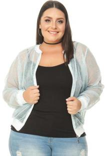Jaqueta De Tule Com Bordado Azul Miss Masy Plus