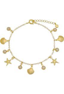 Pulseira Praia Fundo Do Mar Com Conchas E Estrelas Tudo Joias Folheada A Ouro 18K Dourada