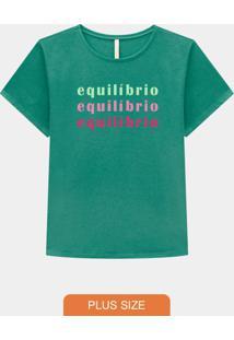 T-Shirt Plus Size Malha Equilíbrio Verde