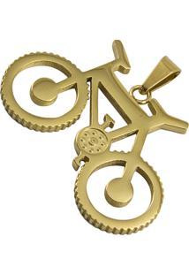 Pingente Bicicleta Tudo Jóias Aço Inox Dourado