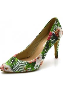 Sapato Scarpin Salto Alto Fino Em Tecido Floral Azaléia - Kanui