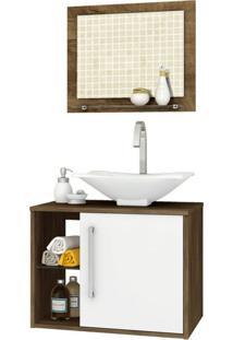 Conjunto Para Banheiro Baden Madeira Rústica E Branco