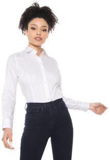 Camisa Dudalina Listrada Branca/Rosa