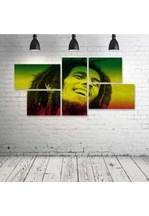 Quadro Decorativo - Bob-Marley-Rasta - Composto De 5 Quadros