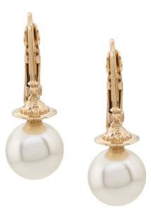 Vivienne Westwood Par De Brincos Com Esfera Perolada - Dourado