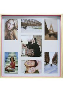 Quadro Para Fotos Wood Natural E Pink 40X40Cm
