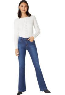 Calça Jeans Flare Classic Recorte
