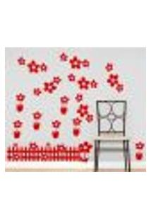 Adesivo De Parede Cartelas Infantil Flores - G 60X75Cm