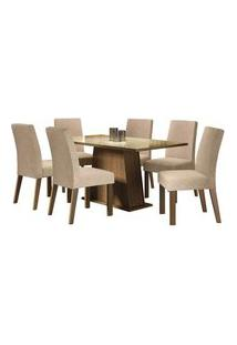 Conjunto Sala De Jantar Madesa Patricia Mesa Tampo De Vidro Com 6 Cadeiras Rustic/Crema/Imperial Cor:Rustic/Crema/Imperial