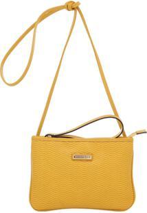Mini Bolsa Couro Transversal Vaqueta - Feminino-Amarelo