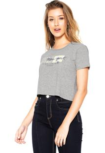 Camiseta Cropped Calvin Klein Jeans New York Cinza