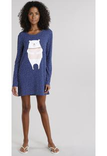 Camisola Feminina Urso Polar Estampada De Poá Manga Longa Azul Marinho
