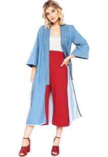 Kimono Jeans Colcci Reta Azul