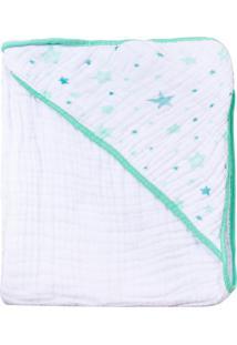 Toalha De Banho Papi Soft Forrada Celeste Branco E Verde