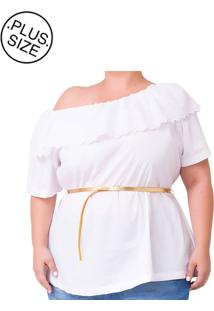 Blusa Plus Size - Confidencial Extra Ciganinha Com Babado