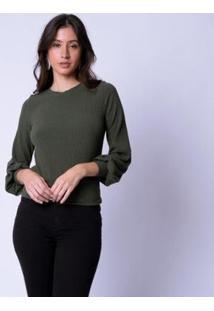Blusa Mercatto Canelada Manga Longa Bufante Feminina - Feminino-Verde Escuro+Marinho