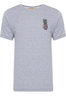 Blusa Masculina Patch Abacaxi Floral - Cinza