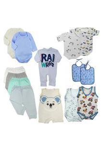 Kit Roupinhas De Bebê 14 Peças Mini Enxoval Verão Fresquinho Azul