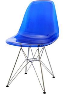 Cadeira Eames Policarbonato Azul Base Cromada 18683 Sun House