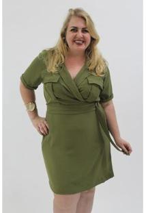 Vestido Kaue Plus Size Utilitário Feminino - Feminino-Verde
