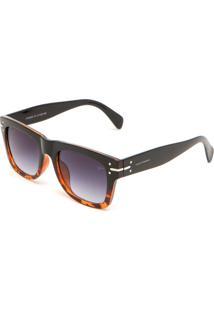 Óculos De Sol Yachtsman Geométrico Tartaruga Preto/Marrom