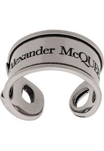 Alexander Mcqueen Anel Com Logo Em Gravura - Prateado