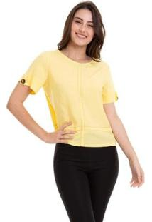 Blusa Viscose Lisa Costura Feminino - Feminino-Amarelo