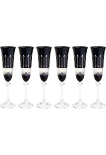 Jogo 6 Taças Cristal Para Champagne Bohemia Alexandra/Asio 190Ml Preto